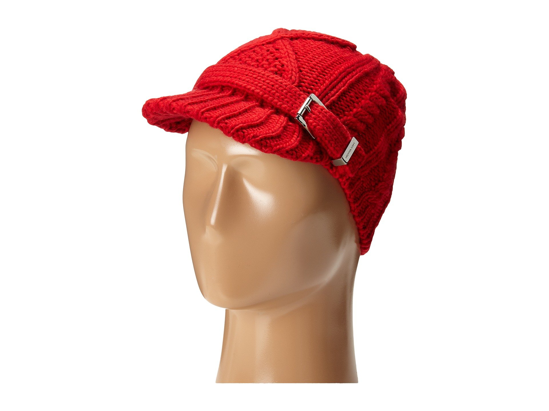 Michael Michael Kors Cable Knit Newsboy Hat Silver/Red by Michael Michael Kors