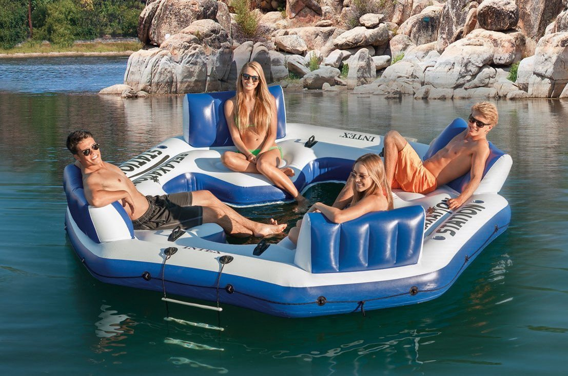Intex Inflatable Floating Island Raft 4 Person River Lake Ocean Pool Party Tube Blue
