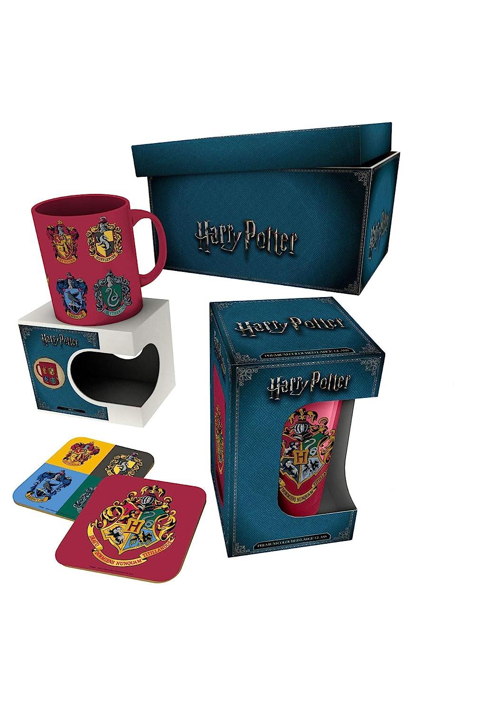 Harry Potter Gr/össe 22x16,5x10 Limited Edition Gift Box Geschenkset Fanartikel je 1x Lizenz-Tasse,1x Glas und 2X Untersetzer Crests