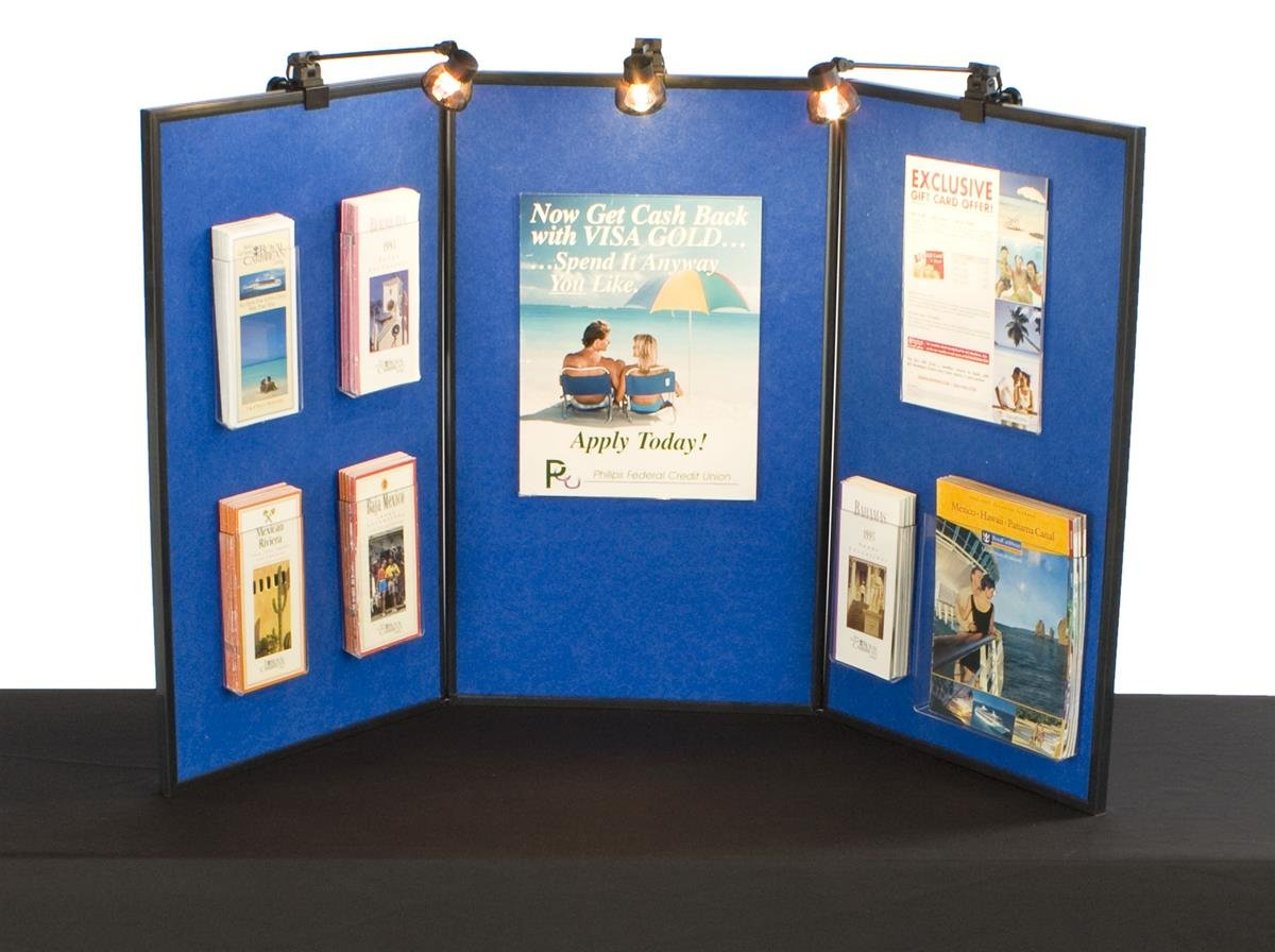 Tri-Fold And Double-Sided Exhibition Blue Display Board, Includes 3 Halogen Spotlights, 54 x 30 x 3/4-Inch by Displays2go