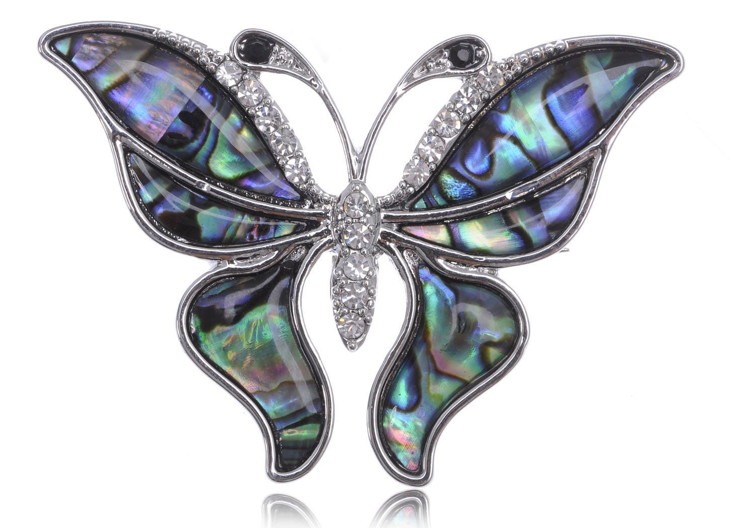 Alilang Silvery Tone Abalone Clear Crystal Colored Butterfly Insect Brooch Pin