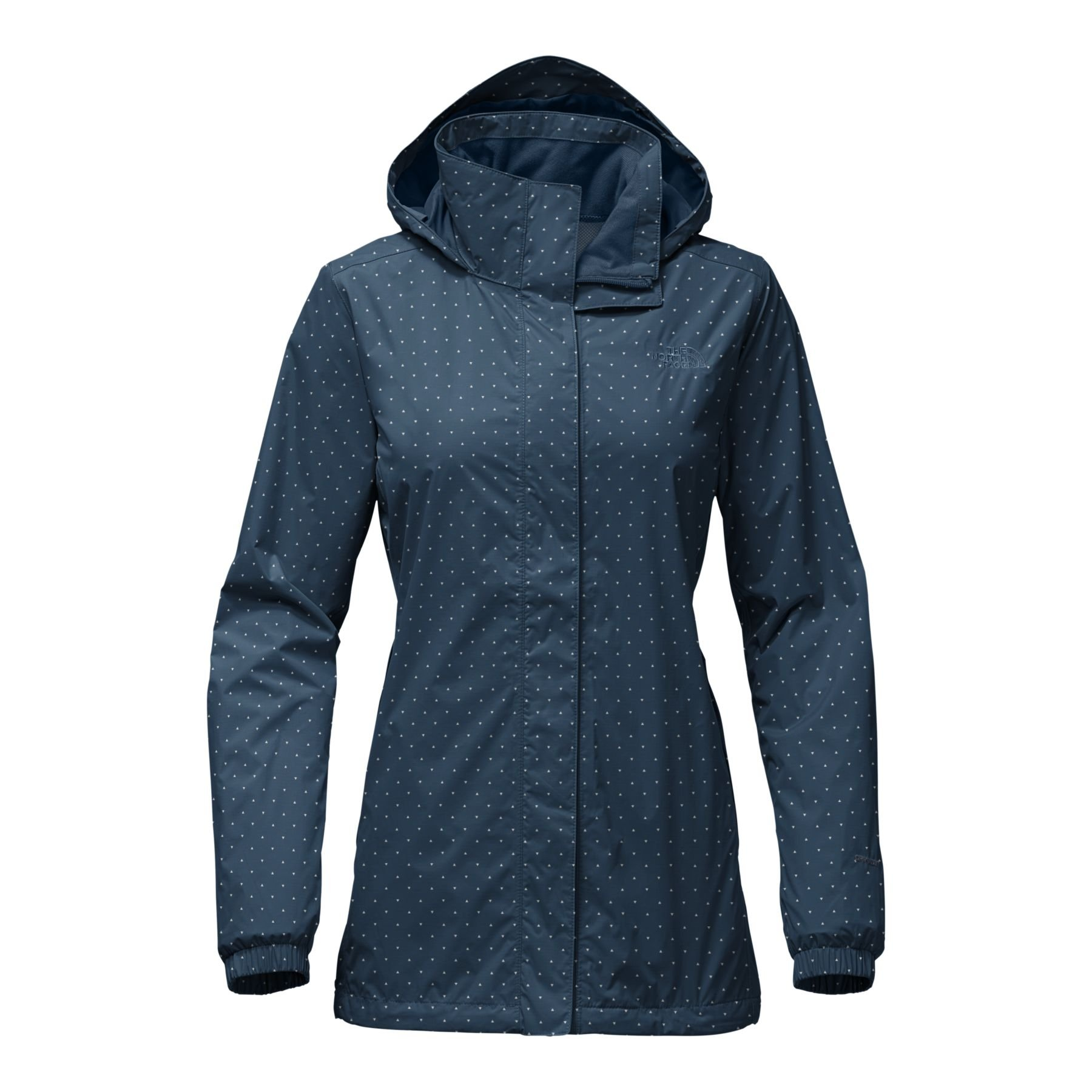 The North Face Women's Resolve Parka Blue Wing Teal and Triangle Dot Print - L