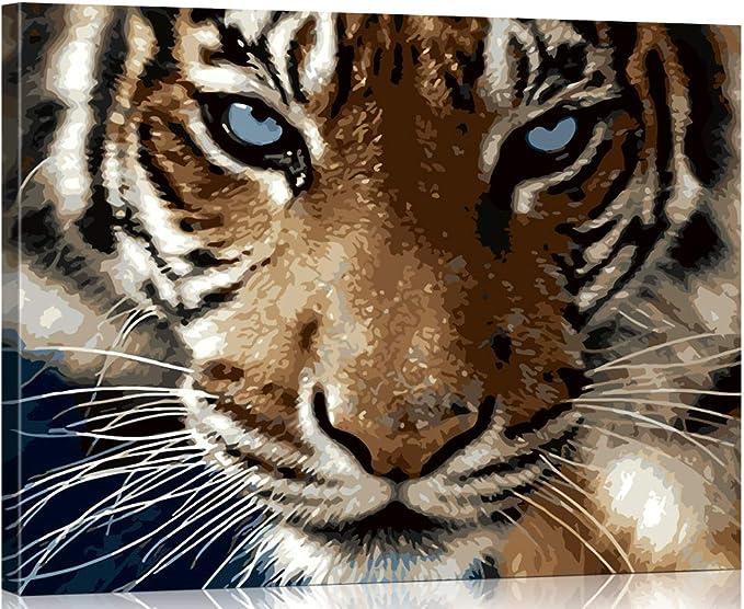 WONZOM Pintura por Números para Adultos Tigre Feroz Animales Imagen, DIY Acrílica Pintura al óleo Kit de Pintura por Números sobre Lienzo [con Marco ...