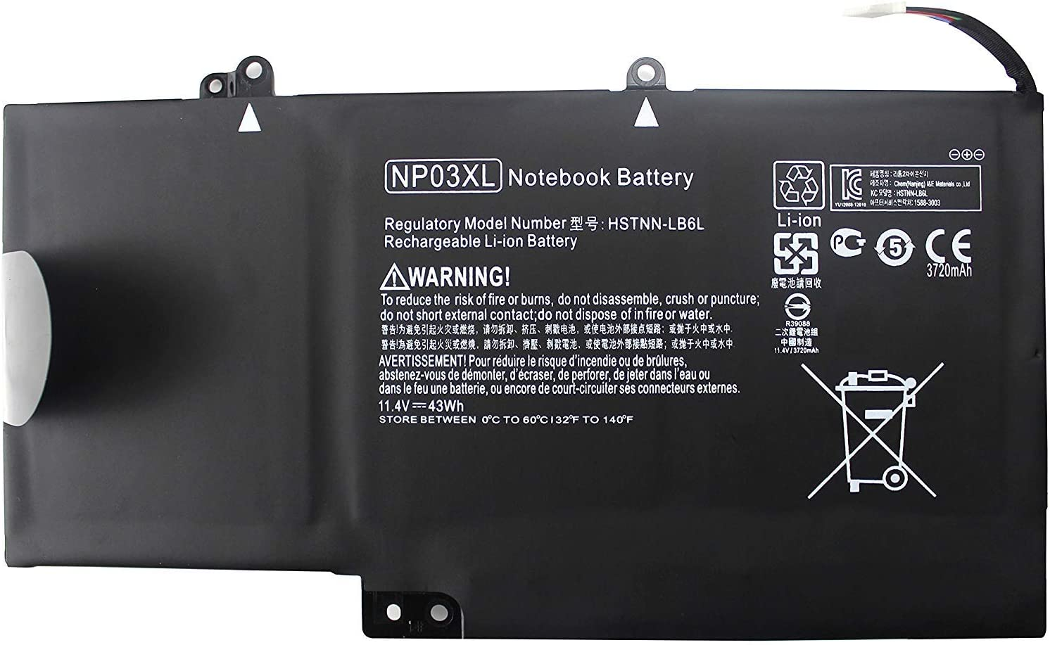 GreenTech New NP03XL 761230-005 Replacement Battery for HP Pavilion X360 13-AXXX, HP Envy X360 15T-UXXX, Envy X360 15-UXXX - GreenTech 11.4V 43Whr 3 Cell Battery NP03043XL-PR 760944-421