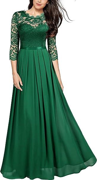 Miusol Damen Elegant Halbarm Rundhals Vintage Spitzenkleid Hochzeit Chiffon Faltenrock Langes Kleid Amazon De Bekleidung