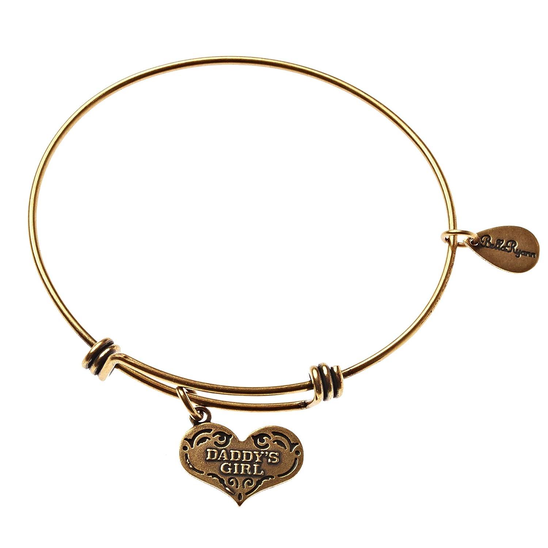 BellaRyann Daddys Girl Expandable Bangle Charm Bracelet in Vintage Gold