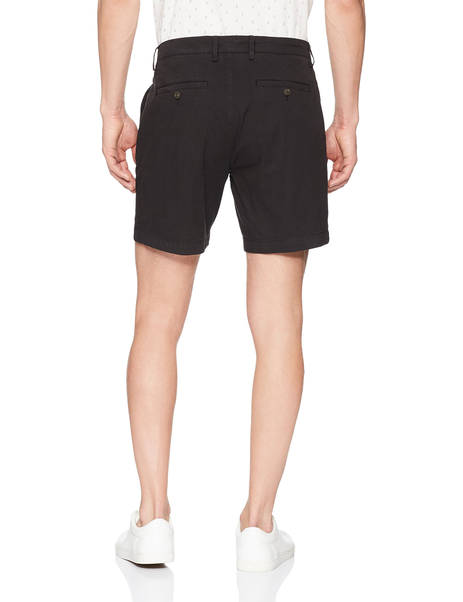 Goodthreads Men's 7'' Inseam Flat-Front Stretch Chino Short, Black, 32 by Goodthreads (Image #3)