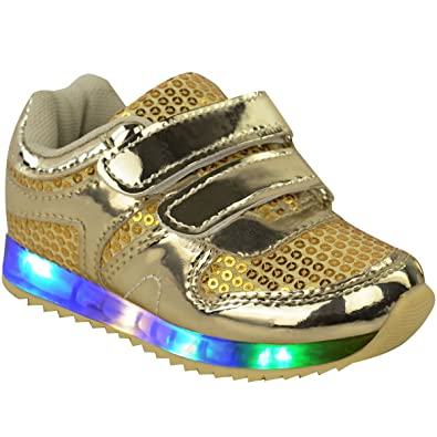 New Girls Kids Babies LED Light Up Trainers Strappy Sneakers Toddler Shoes  Size a089f97e9102