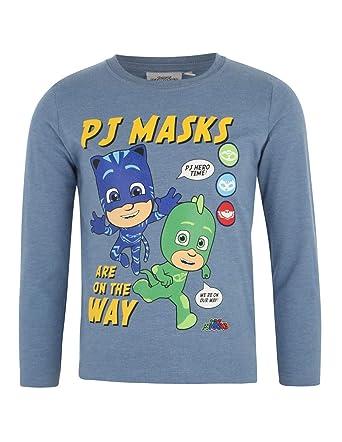 ef6e26a30ac02 Les Pyjamasques T-Shirt Manches Longues Enfant garçon Bleu de 3 à 8ans   Amazon.fr  Vêtements et accessoires