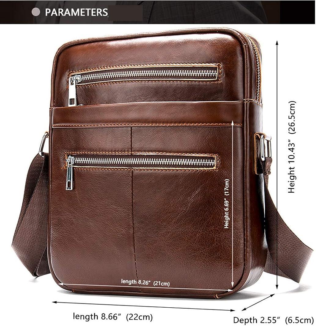 WOCTP Outdoor bag,Sac à bandoulière en cuir pour hommes à grande capacité Sac à bandoulière Sac d'affaires simple MEN Café