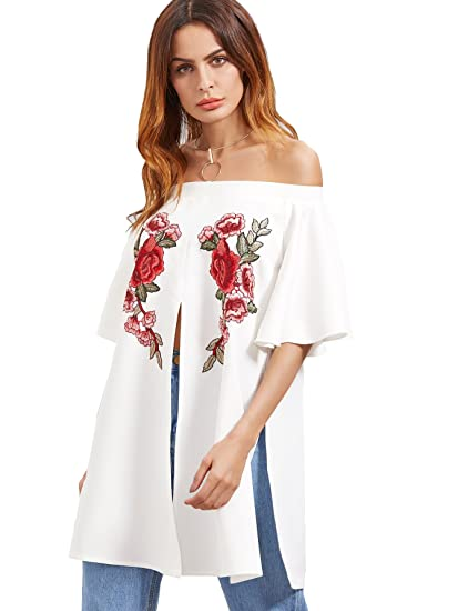 85299d9a90a43 Romwe Women s Top Off Shoulder Embroidered Rose Applique Split Front Tunic  Blouse White XS at Amazon Women s Clothing store