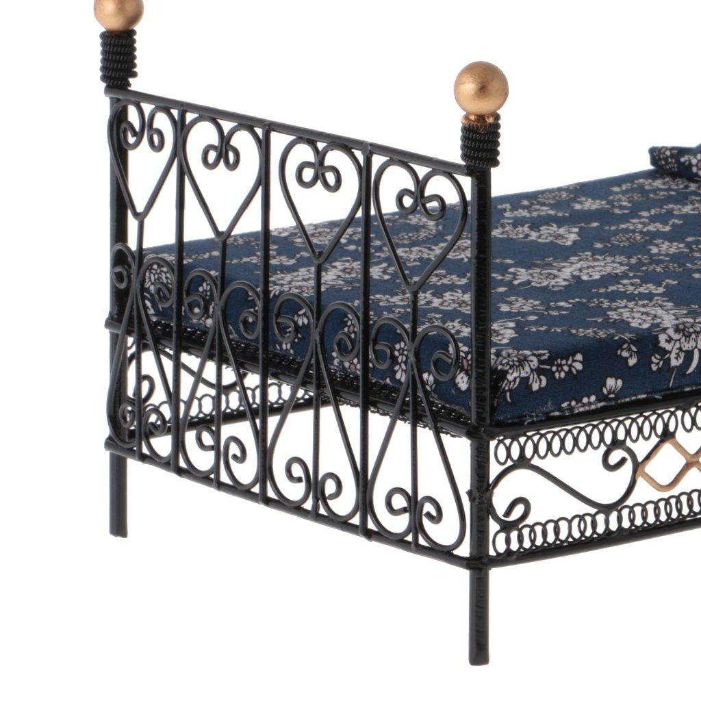 T TOOYFUL 1:12 Letto Matrimoniale in Ferro BATTUTO Modello Moda Stile Attraente Metallo Panno Bed Store