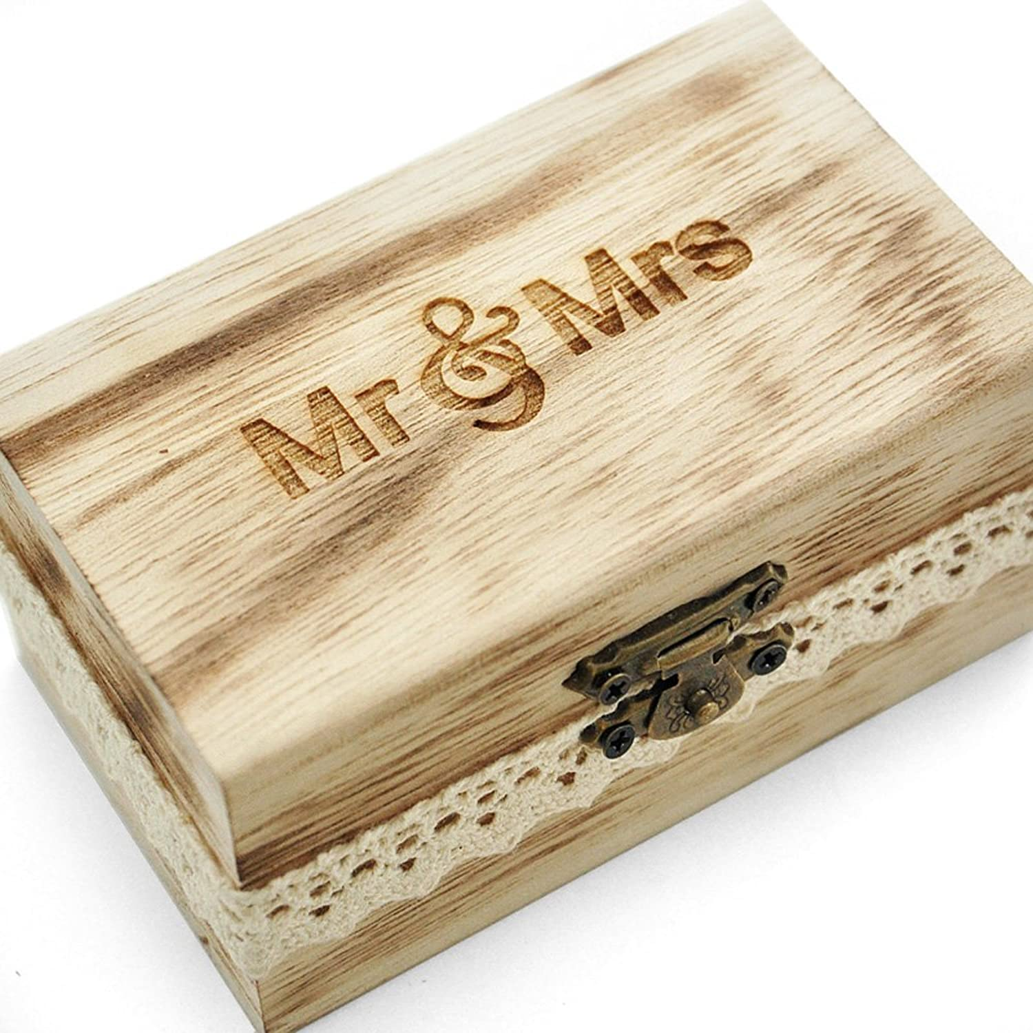 Amazoncom Mr and Mrs Ring Box Rustic Wedding Ring Bearer Box