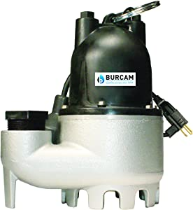 BURCAM 300608Z 1/3 HP Cast Iron Submersible Sump Pump With Tethered Float Switch
