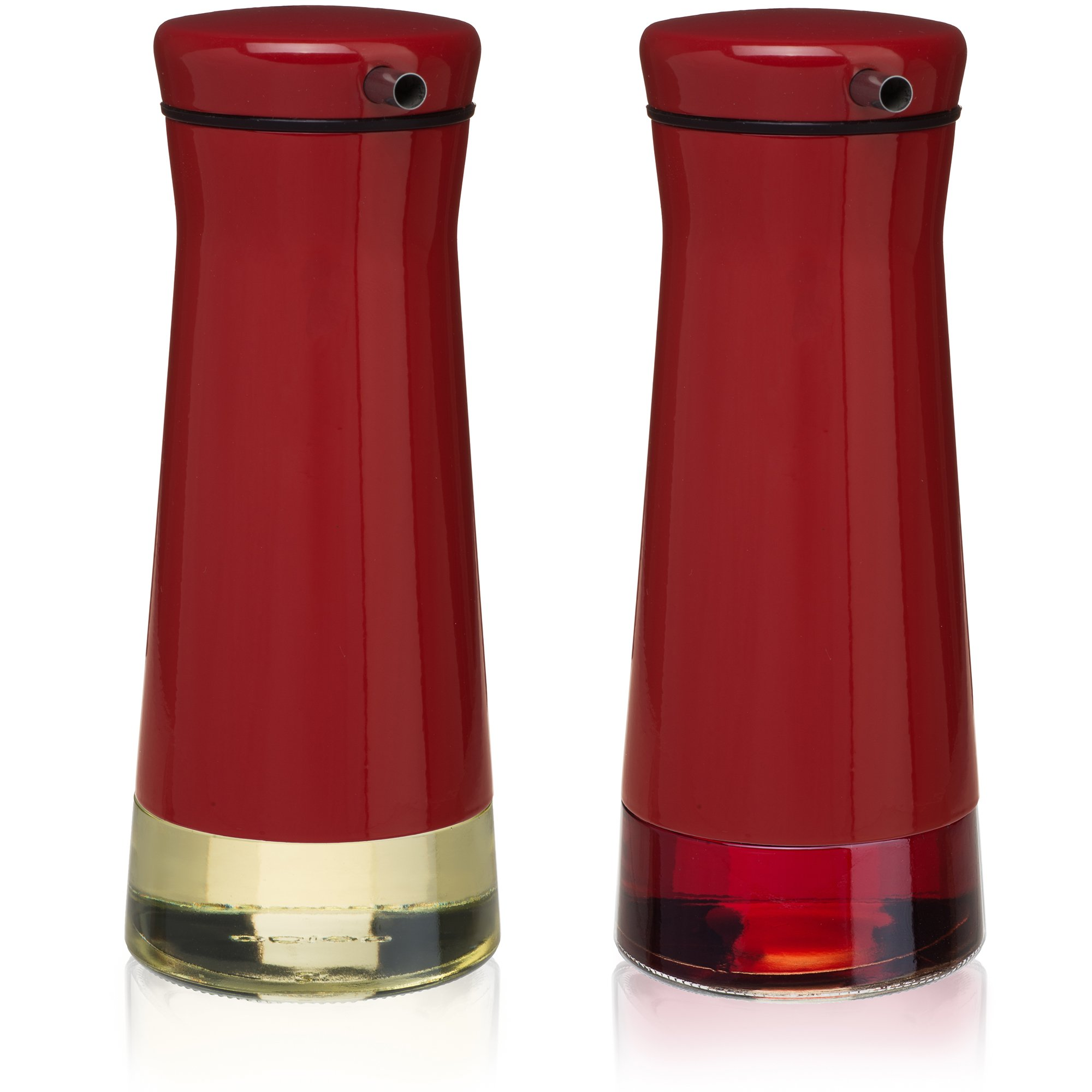 CHEFVANTAGE Olive Oil and Vinegar Cruet Dispenser Set with Elegant Glass Bottle and Drip Free Design - Red by CHEFVANTAGE