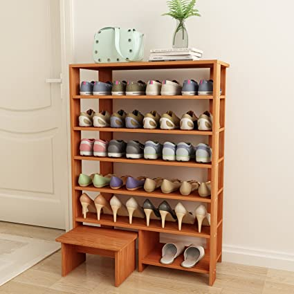 Jerry U0026 Maggie   6 Tier 100% Solid Wood Shoe Rack With One Footstool /
