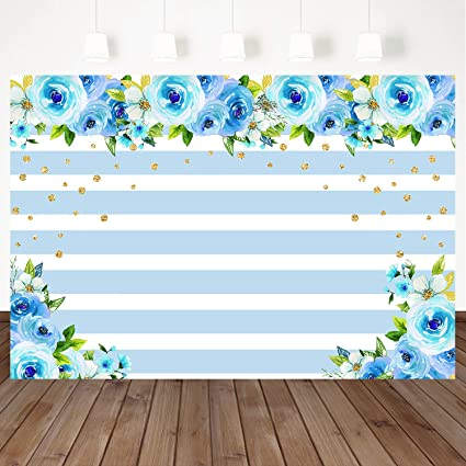 Mehofoto Blue White Striped Backdrop Blue Flowers Background Golden Dot Decoration 7x5ft Vinyl Wedding Party Backdrops Video Photography Background