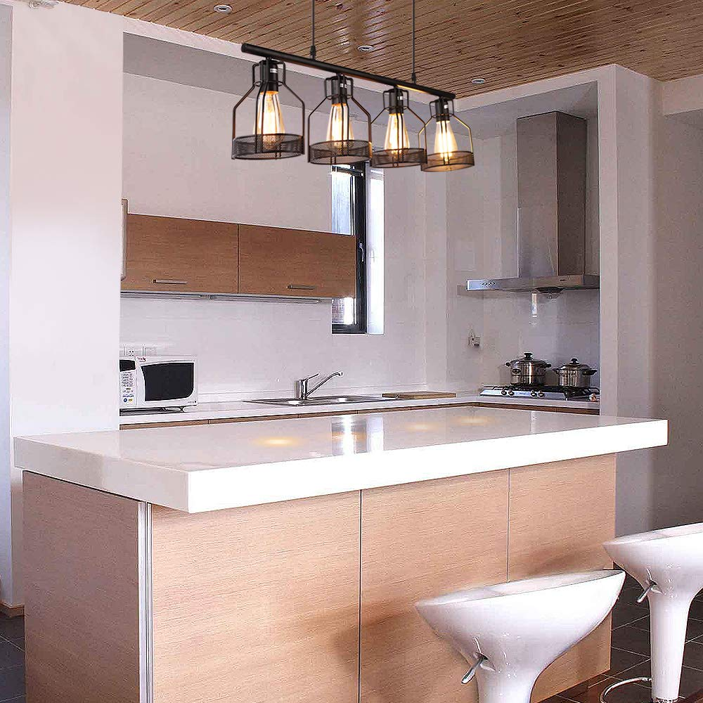 Kitchen Island Lighting 4-Light Pendant Light Fixture with Paint Finish Cage Lampshade Modern Industrial Chandelier by EE Eleven Master (Image #4)