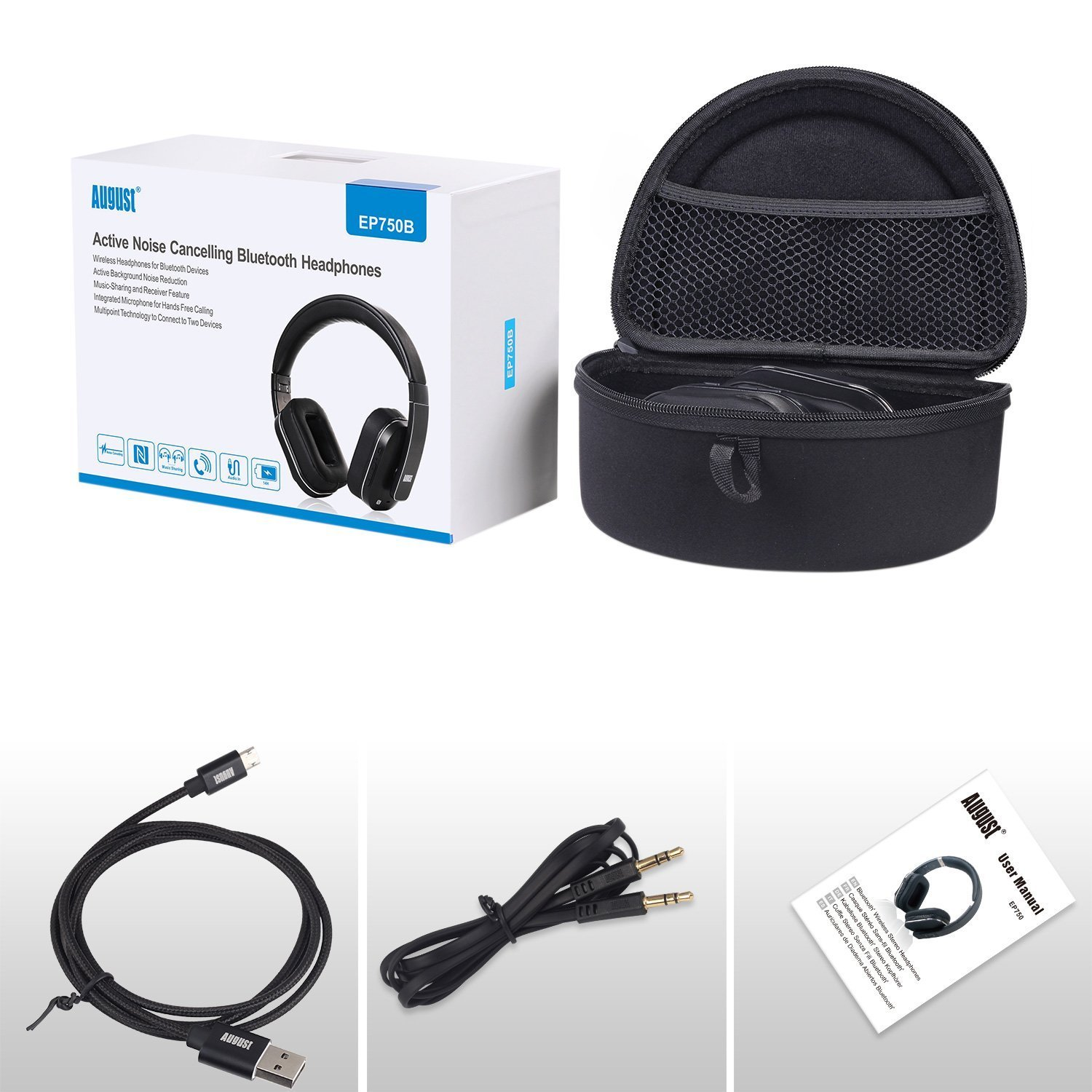 August EP750 Active Noise Cancelling Wireless Bluetooth Over-ear Stereo Headphones with Microphone and Volume Control - aPTX/Black - Reduce Air Travel Engine Noise by August