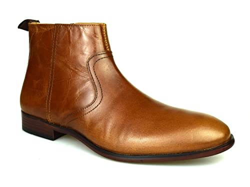 9e9280bf618 Red Tape Langden Tan Leather Men's Zip-Up Chelsea Boots