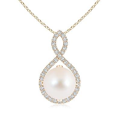 Angara Freshwater Cultured Pearl Infinity Twist Pendant 1n2C3N2H