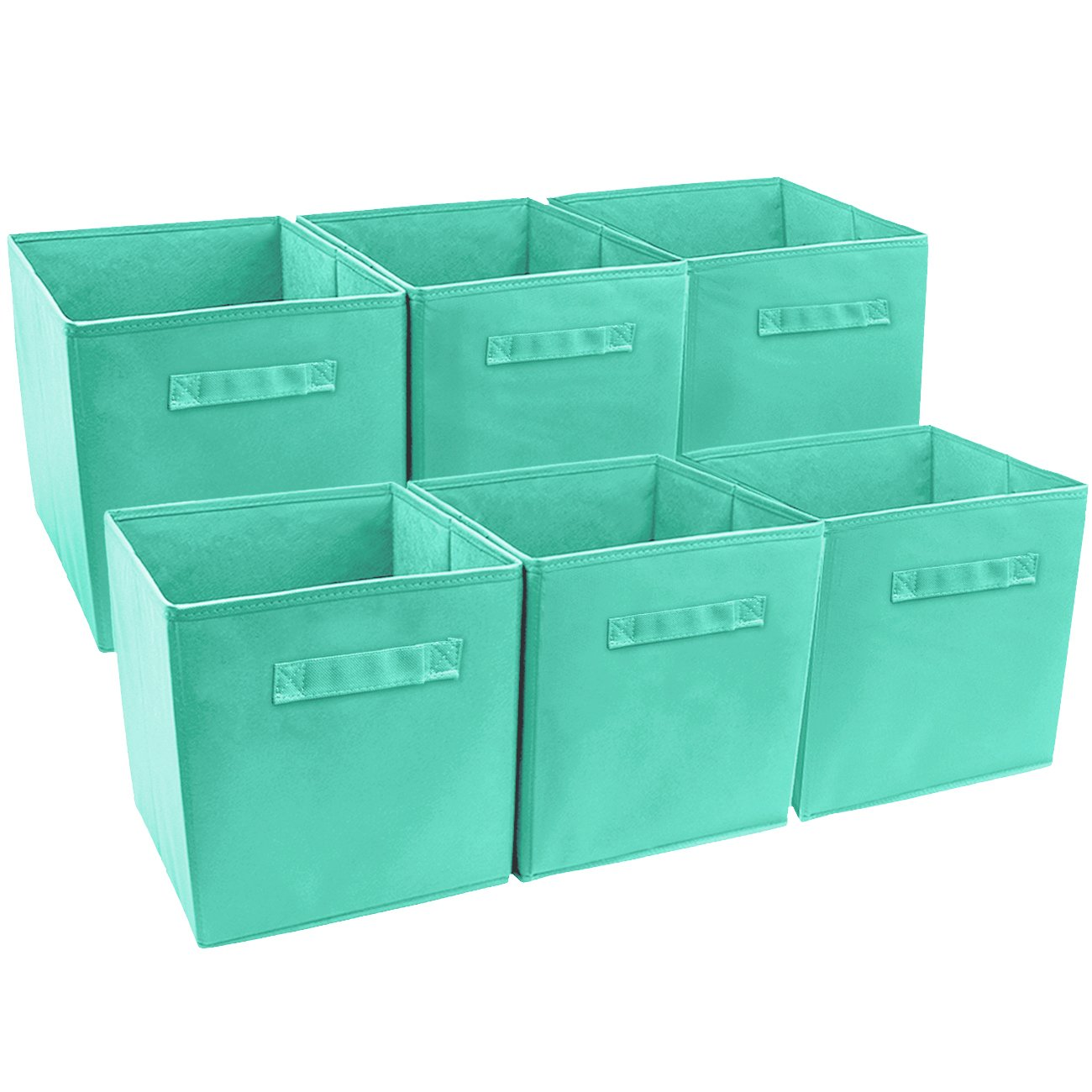 Sorbus Foldable Storage Cube Basket Bin (6 Pack, Teal)