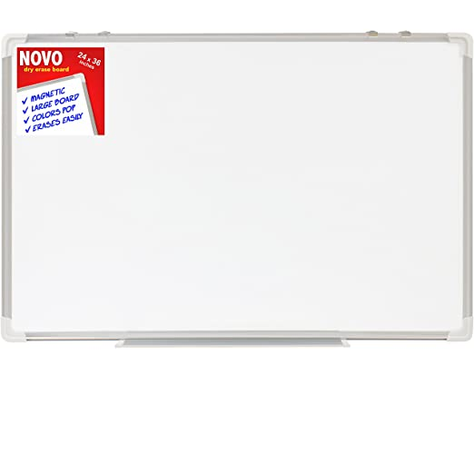Dry Erase Board 24x36 | LARGE Magnetic Whiteboard with Aluminum Frame | Dryerase Marker Boards for Office Bulletin or Calendar | Melamine Perfect for Easel and Universal Black