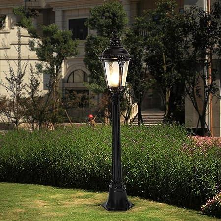 Meidn Americana tradicional 1-Light Farola de jardín de aluminio Lámpara de césped Europea Victoria cristal linterna E27 Pilar impermeable al aire libre del anuncio Columna Lámpara de pie del accesori: Amazon.es: Hogar