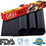 KLEMOO Nonstick BBQ Grill Mat 15.75 x 13 Inch (Set of 3) Barbecue Pad PFOA Free Cooking Mats Heavy Duty Grilling Accessories, Reusable Sheets for Gas, Charcoal, Electric Grills