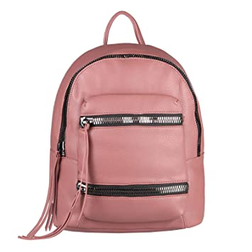 dc95b12bb44a8 OBC Damen Rucksack Tasche Cityrucksack Schultertasche Leder Optik Backpack  Daypack Handtasche Umhängetasche (Altrosa 30x34x15 cm