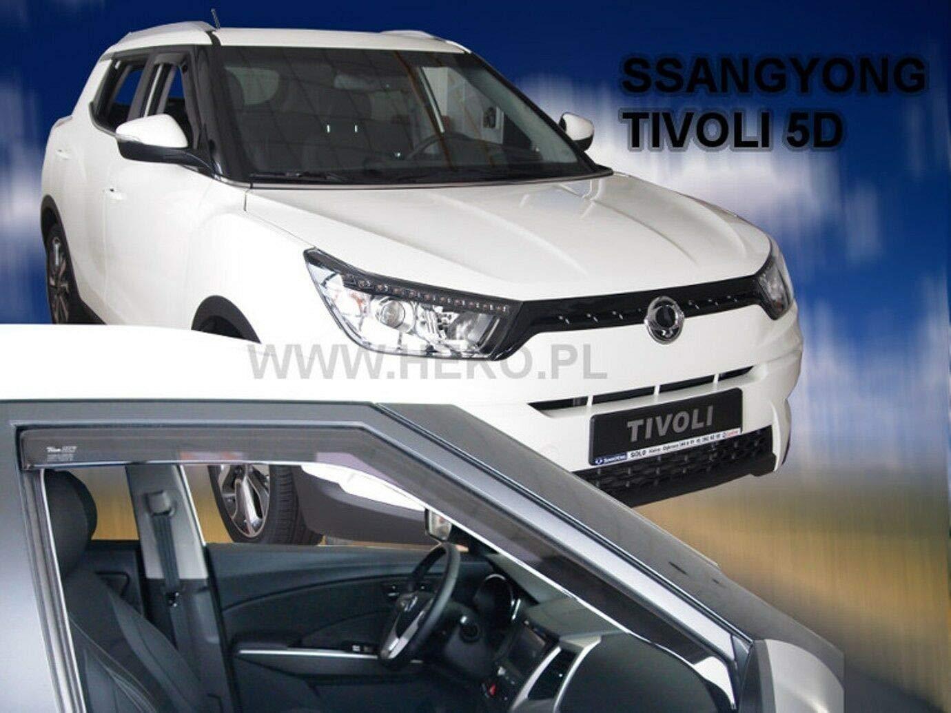 Deflecteurs dair d/éflecteurs de Vent Compatible avec SsangYong Tivoli 5 Portes 2015-pr/és 2 pi/èces J/&J AUTOMOTIVE