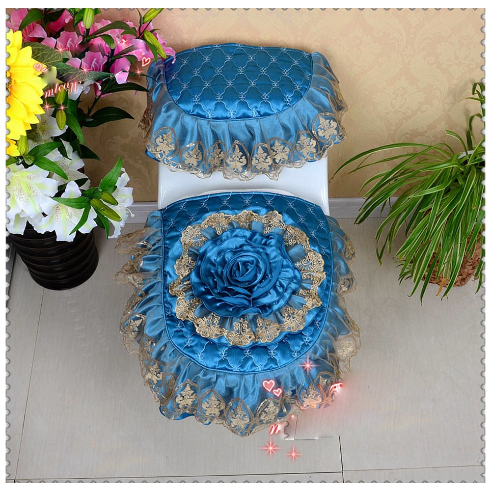 WSHINE Floral Lace Toilet Accessories Tank Cover + Lid Cover + Toilet Seat Cover (Blue)