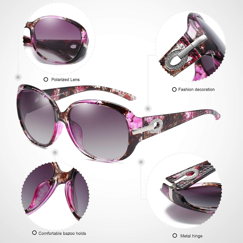 DUCO Classic /übergro/ße polarisierte Schattierung Sonnenbrille f/ür Damen Frauen weiblich mit 100/% UV400 Schutz 6214