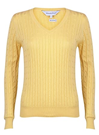 9726790b959a Bahama Blue Women's Cotton Cable Knit V-Neck Sweater at Amazon Women's  Clothing store: Fashion T Shirts