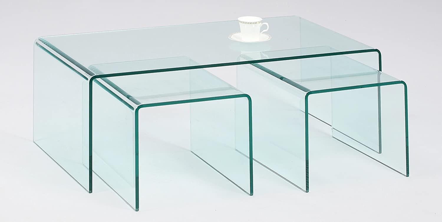 Amazon.com: Chintaly Imports Nested Bent Glass Cocktail Table, Clear, Set  Of 3: Kitchen U0026 Dining