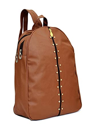 cf419e2f8c72 TrendyAge Leather College Backpacks for Girls (Brown)  Amazon.in  Bags