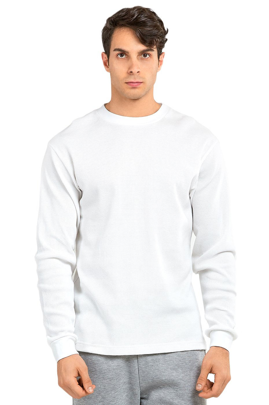 TOP PRO Men's Classic Fit Waffle-Knit Heavy Thermal (L, White)