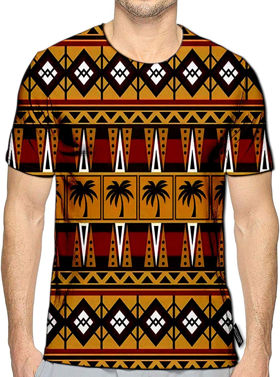 YILINGER T-Shirt 3D Printed Tribal Ethnic Folk Abstract Geometric Repeating Texture Design of Fabric Casual Tees