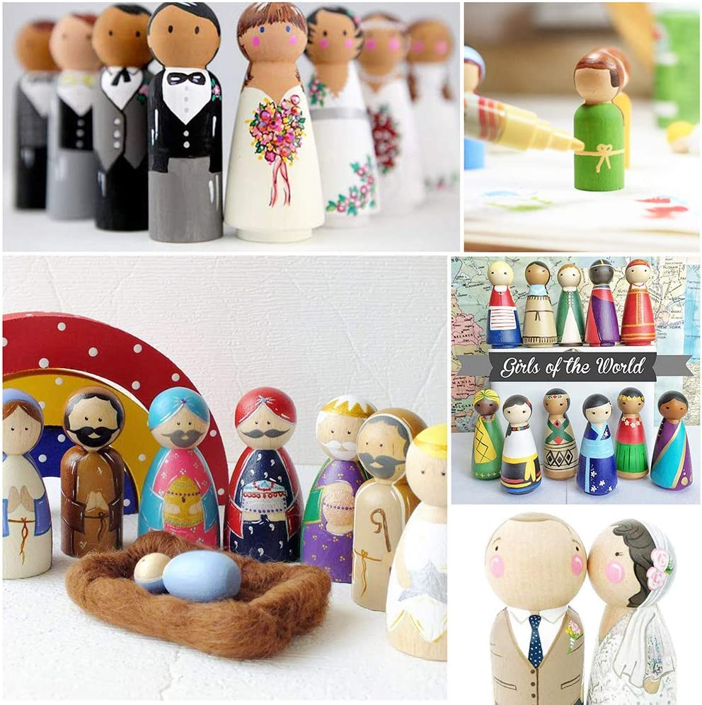 Thursday April 58PCS Wooden Peg Dolls Unfinished People Natural Wood Shapes Figures Decorative DIY Doll Bodies for Kids Painting Craft Art Projects and Decoration