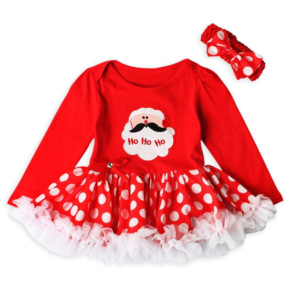 Tomatoa Christmas Baby Dress Toddler Newborn Baby Girls Letter Princess Tutu Dress Christmas Tree Outfits Set for 0-18 Months Girls