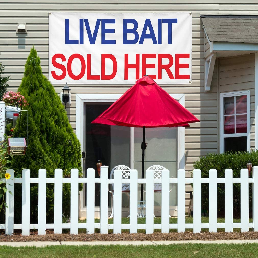 We Sell Live Bait 13 oz Banner Heavy-Duty Vinyl Single-Sided with Metal Grommets