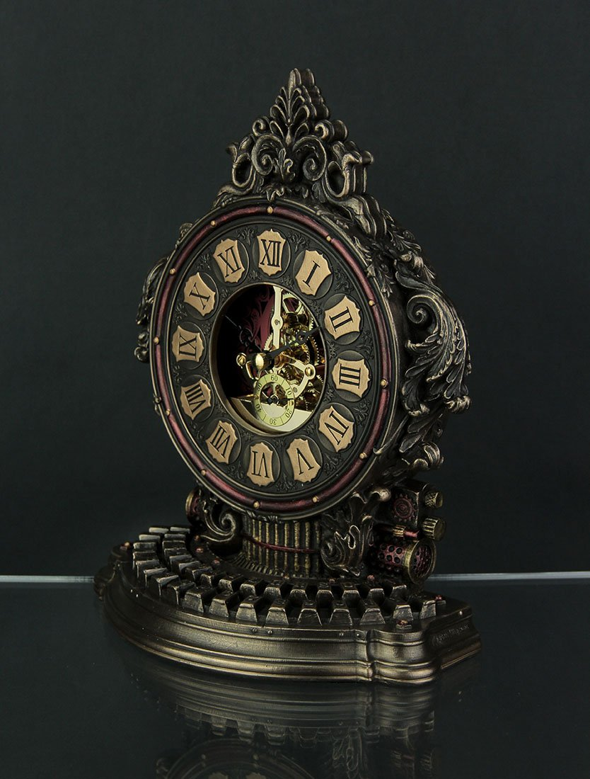 Resin Table Clocks Steampunk Style Antique Typewriter Table Clock With Moving Clockworks 7 X 9 X 3.5 Inches Bronze