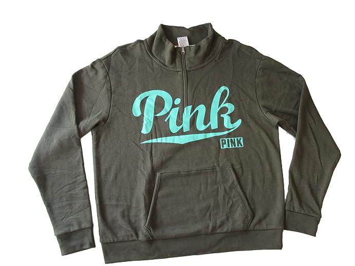 Victoria's Secret PINK Half Zip Pullover Sweatshirt Small Olive ...