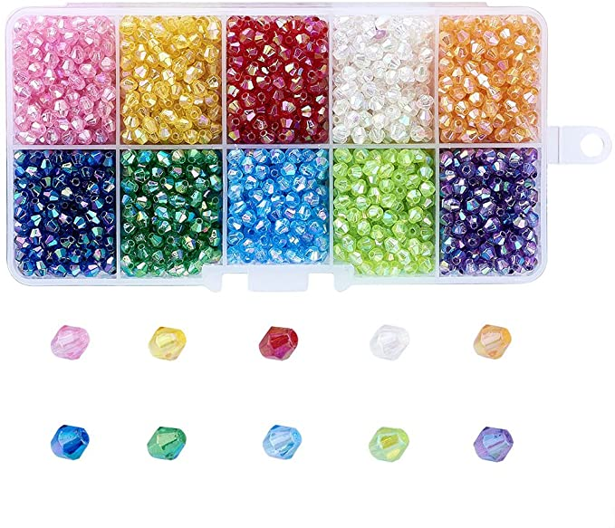 About 2500pcs 10 Color Crystal Bicone Beads Faceted AcrylicBeads Assortment Lot for Jewelry Making PH PandaHall 1 Box