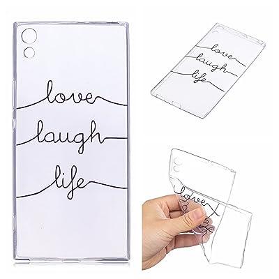 Qiaogle Teléfono Caso - Funda de TPU Silicona Carcasa Case Cover para Sony Xperia XA1 Ultra (6.0 Pulgadas) - HX95/love Laugh Life