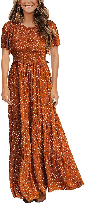 Kranda Women's Round Neck Short Flutter Sleeve Smocked Ruffle Floral Maxi Dress