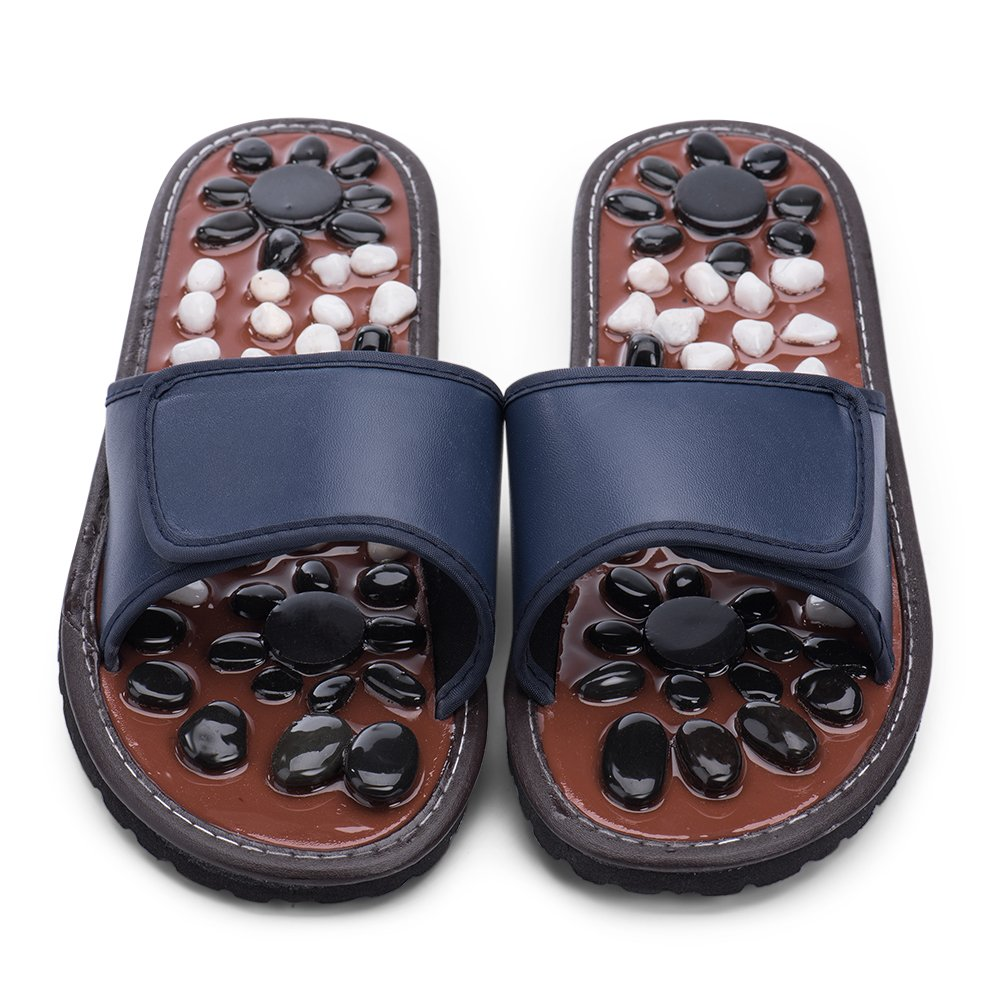 ZEPAN Acupressure Foot Massager Slippers Jade Stone House Sandals Shoes Reflexology for Women Men(Blue29)