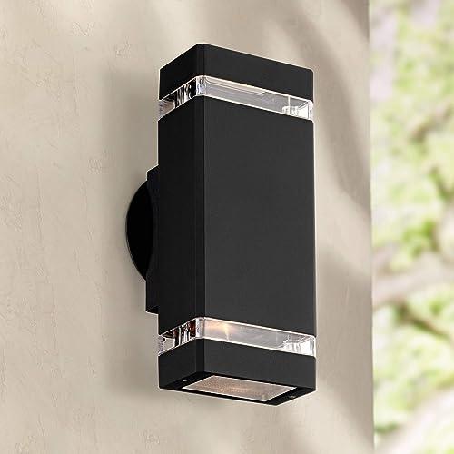 Skyridge Modern Outdoor Wall Light Fixture Black 10 1 2 Rectangular Glass Up Down for House Porch Patio – Possini Euro Design