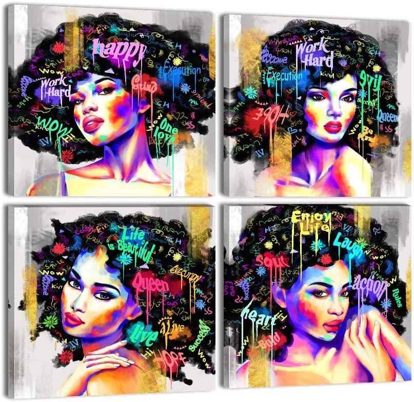 """Urttiiyy African American Wall Art Abstract Graffiti Style Black Woman Paintings 4 Panels Black Art Wall Decor for Living Room Bedroom Framed Ready to Hang - 12""""x12""""x4"""