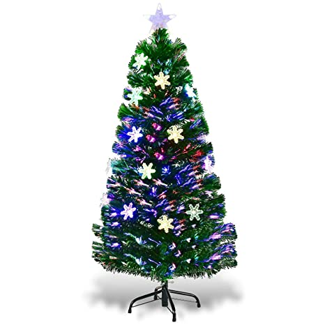Goplus 4ft Pre,Lit Fiber Optic Artificial Christmas Tree with Multicolor  Led Lights and Snowflakes